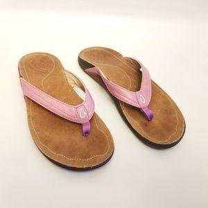 Olukai Leather Flip Flops Size 8